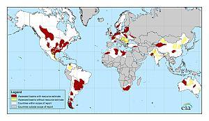 Mappa dell'EIA sui depositi di shale